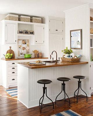 美式风格白色开放式厨房装修