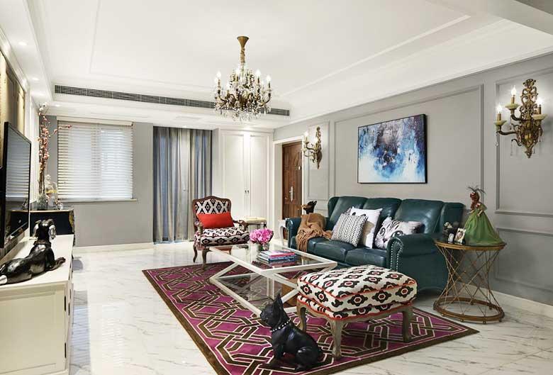 现代美式两居室客厅平面图