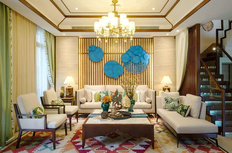 300平东南亚风格别墅客厅效果图