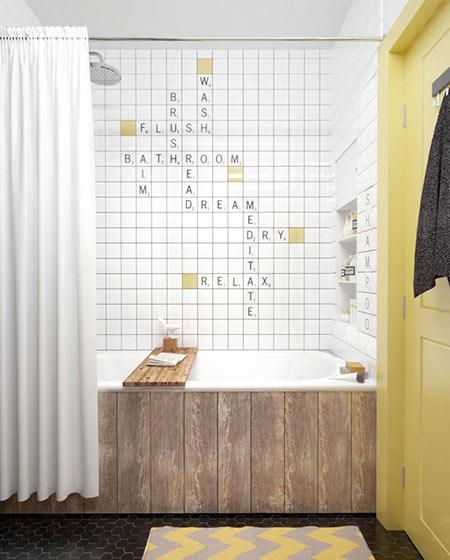 北欧风格卫生间字母瓷砖图