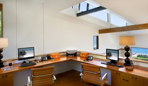 Contemporary-home-office-with-a-skylight