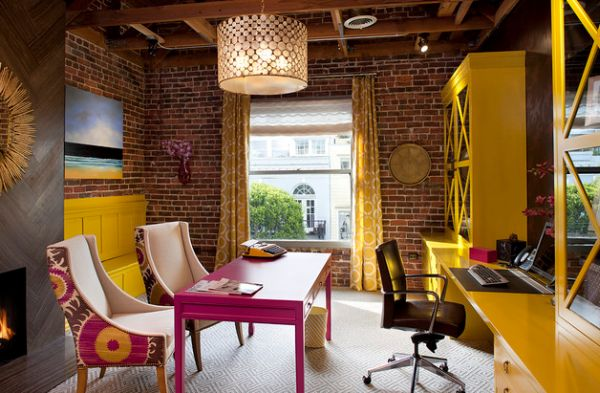 Exposed-brick-walls-and-fabric-chairs-create-an-inimitable-work-area