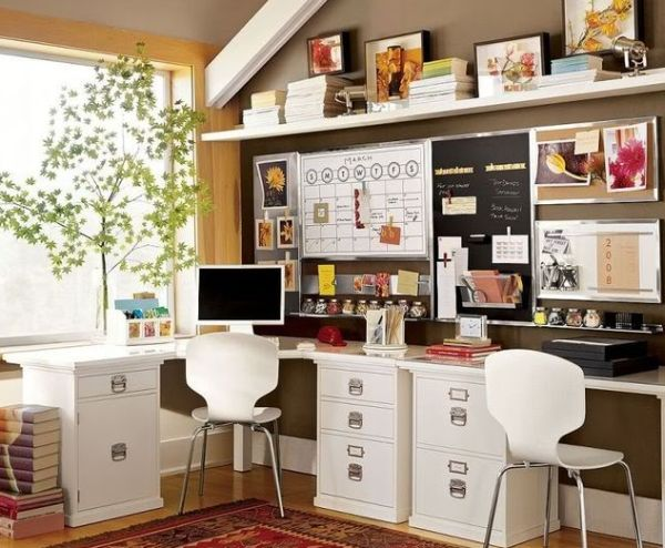 Eclectic-home-office-in-brown-and-white