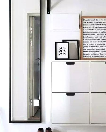 北欧风格玄关装修白色鞋柜图片