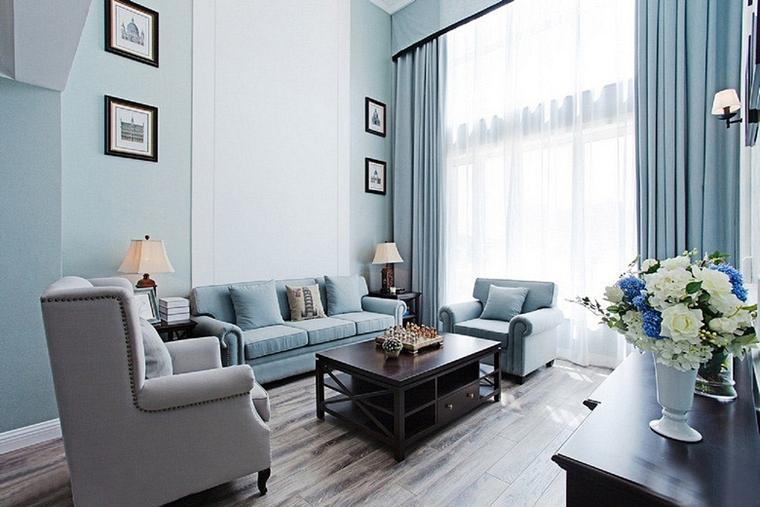 蓝色调欧式风格装修客厅效果图