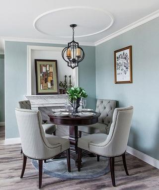 蓝色调欧式风格装修餐厅图片