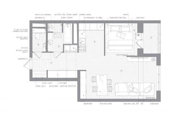 工业风一居室设计平面图