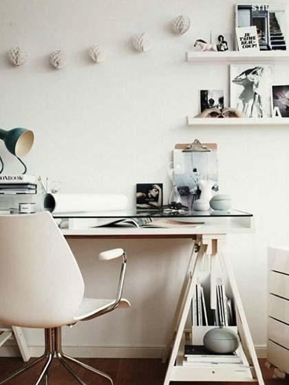 家庭小书桌背景墙装修图