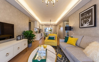 15万半包美式风格两居室美式客厅图片