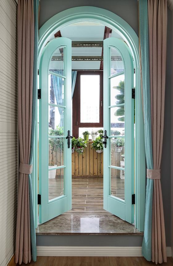 110平清新北欧风格阳台窗帘图片