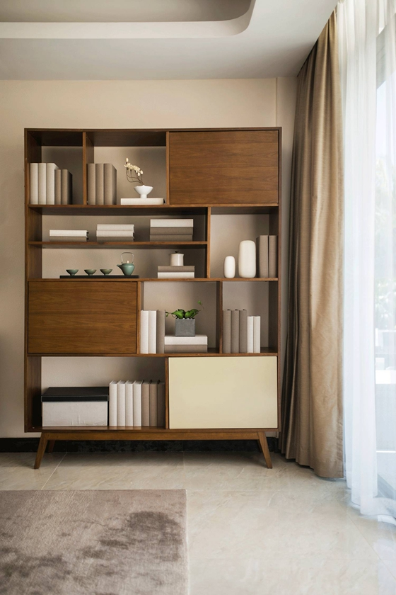 110平公寓装修客厅书柜效果图