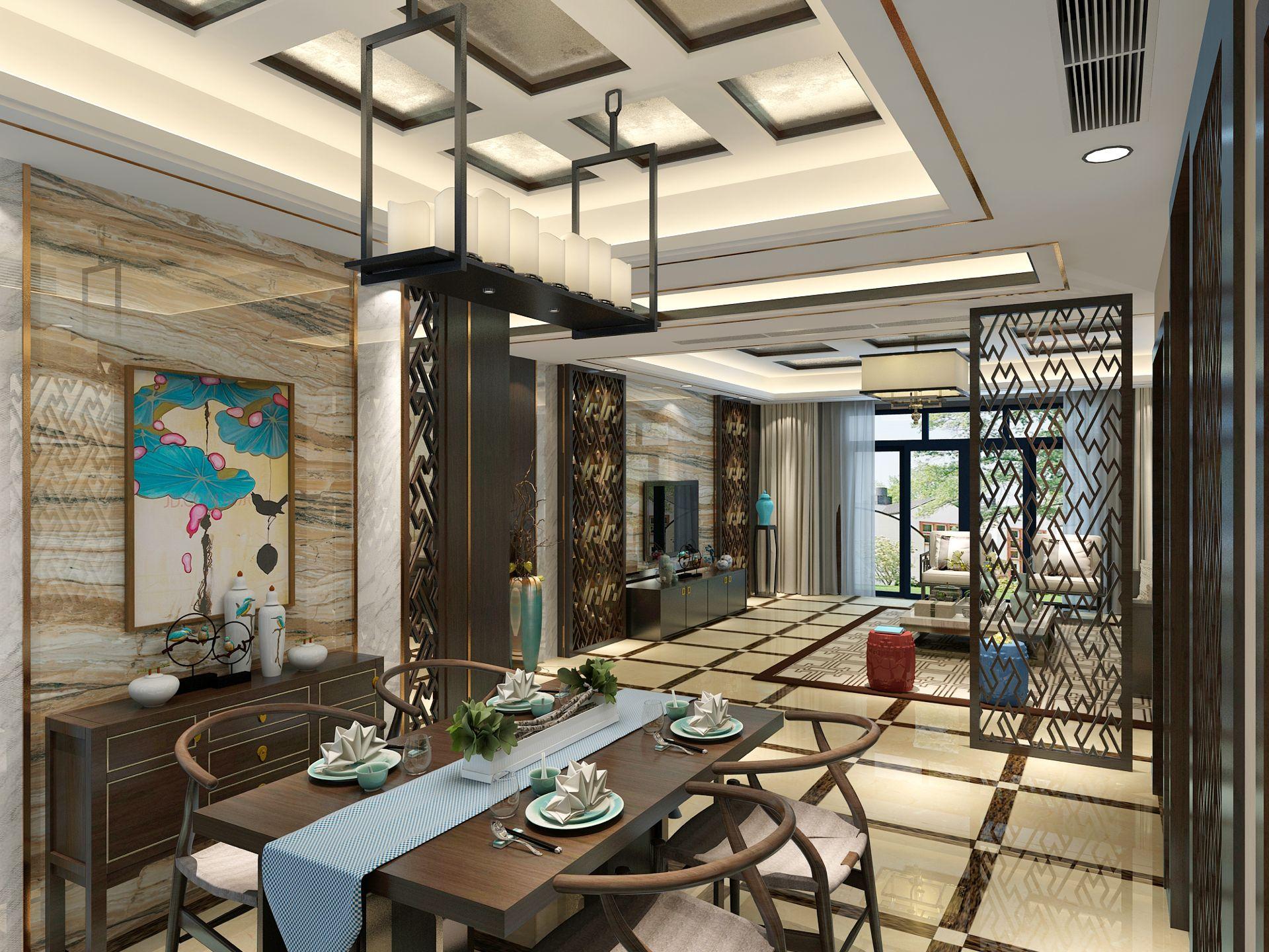 大户型新中式风餐厅装修效果图