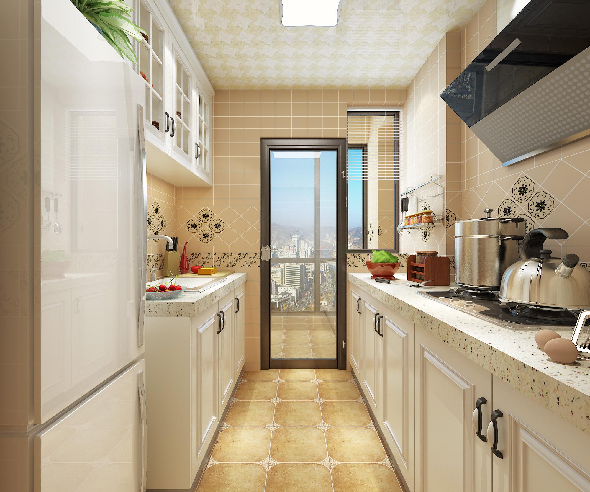 100㎡美式风格厨房装修效果图