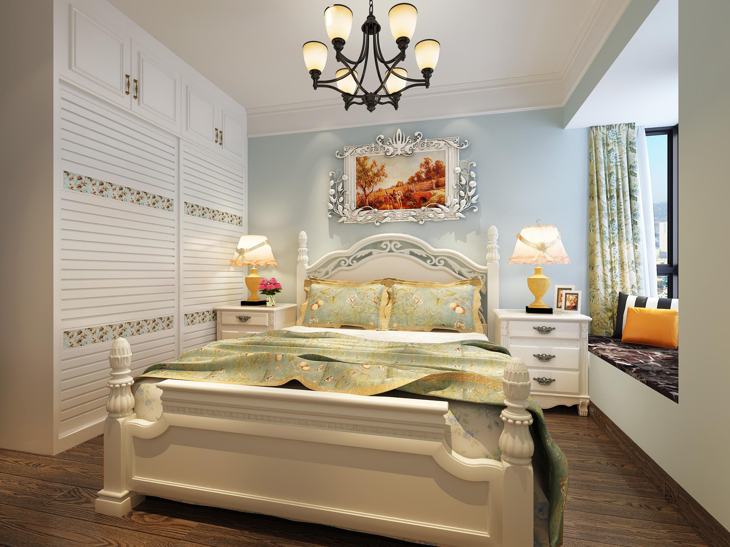 100㎡美式风格卧室装修效果图