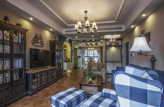 美式复古风三居客厅装修效果图