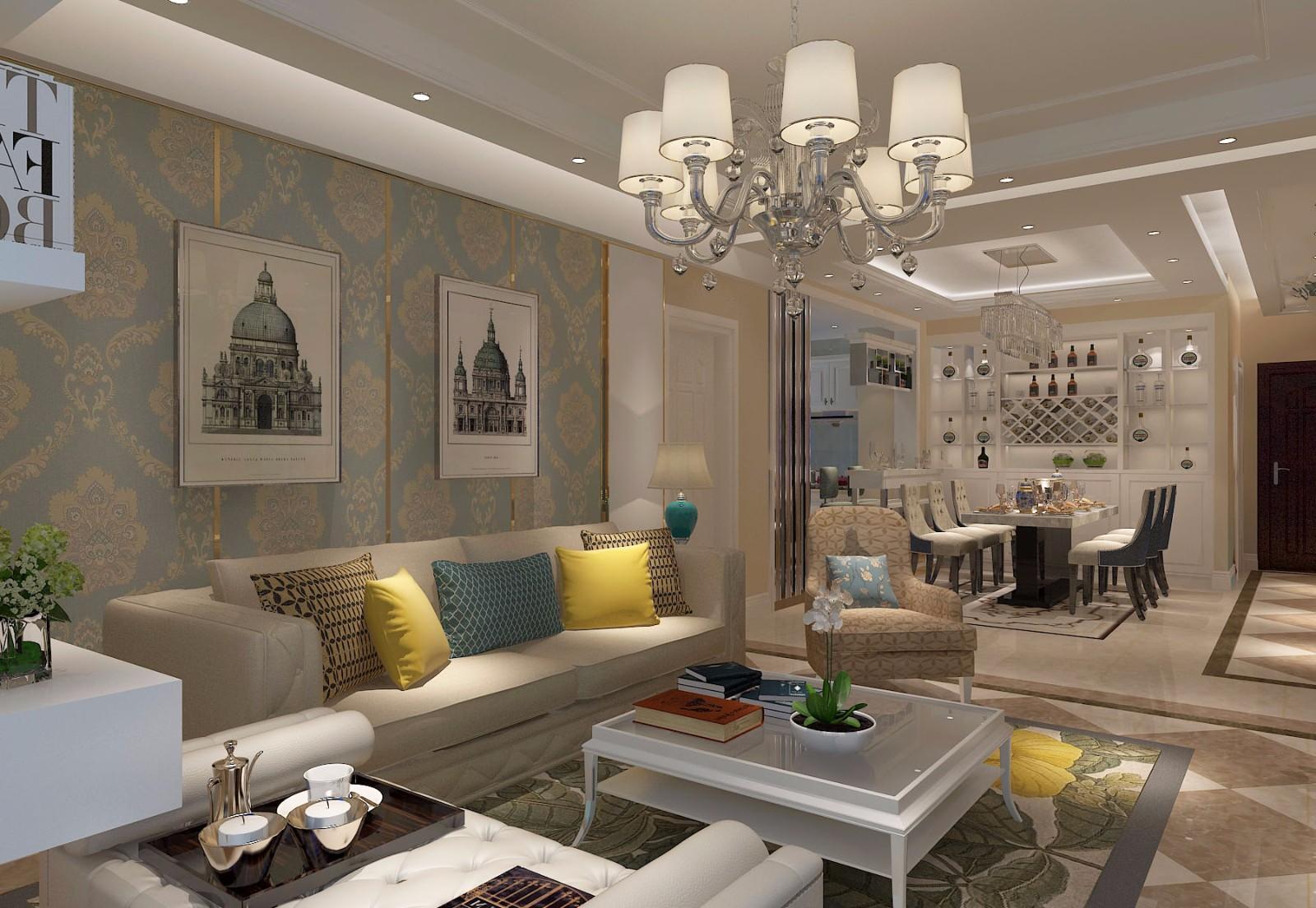两居室简欧风格沙发背景墙装修效果图