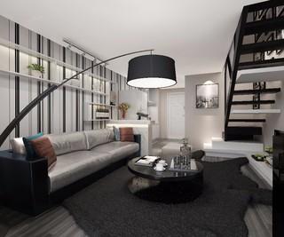 复式现代简约客厅装修效果图
