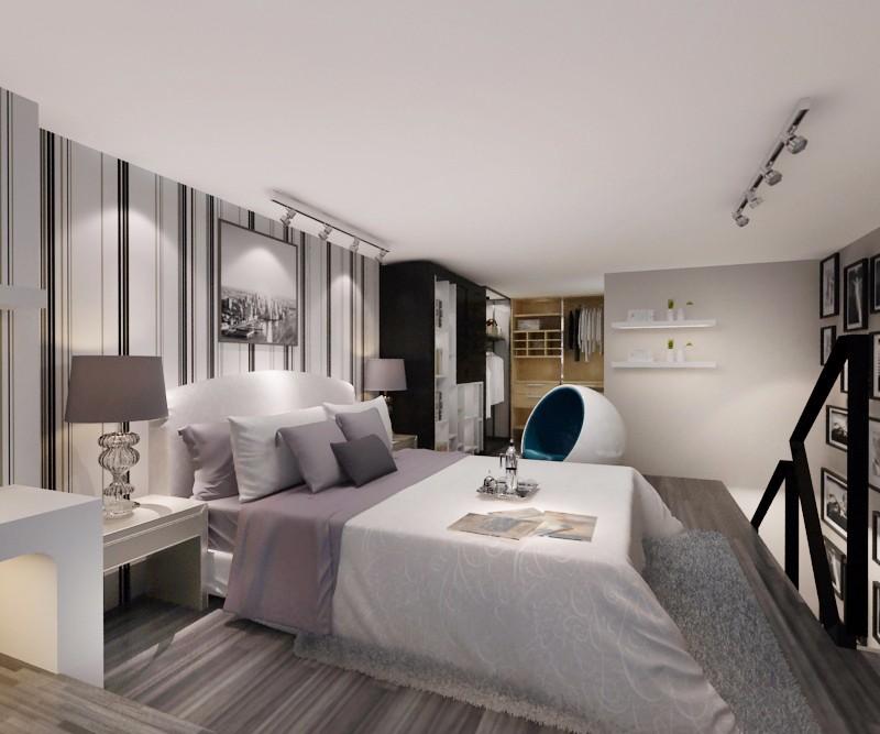 复式现代简约卧室装修效果图