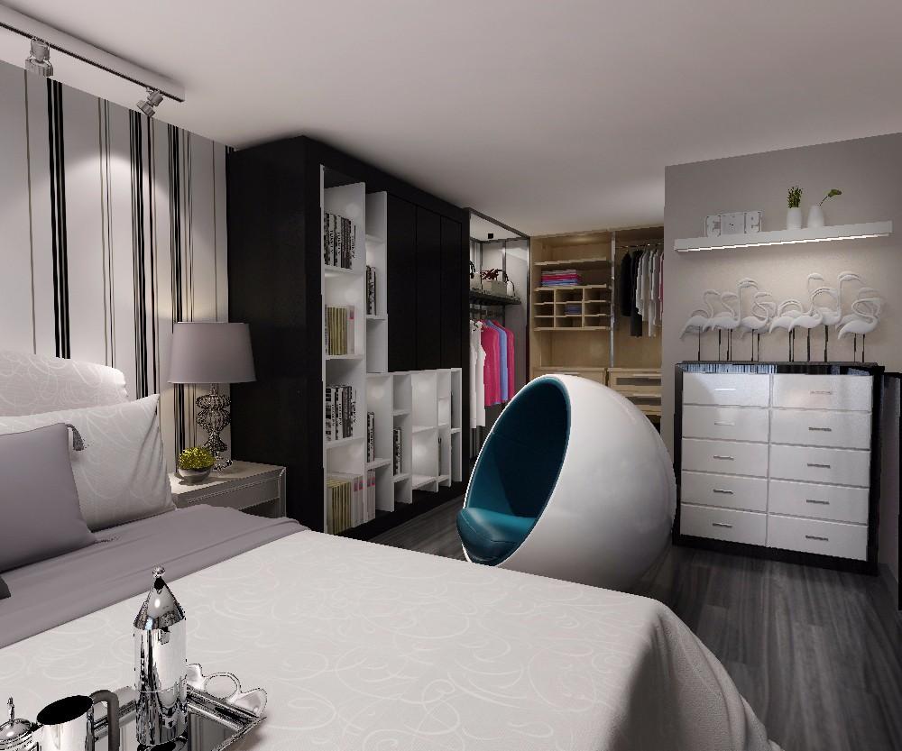 复式现代简约卧室衣帽间装修效果图