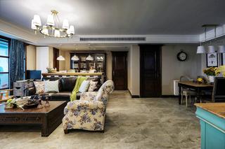 106㎡美式混搭三居客厅过道装修效果图