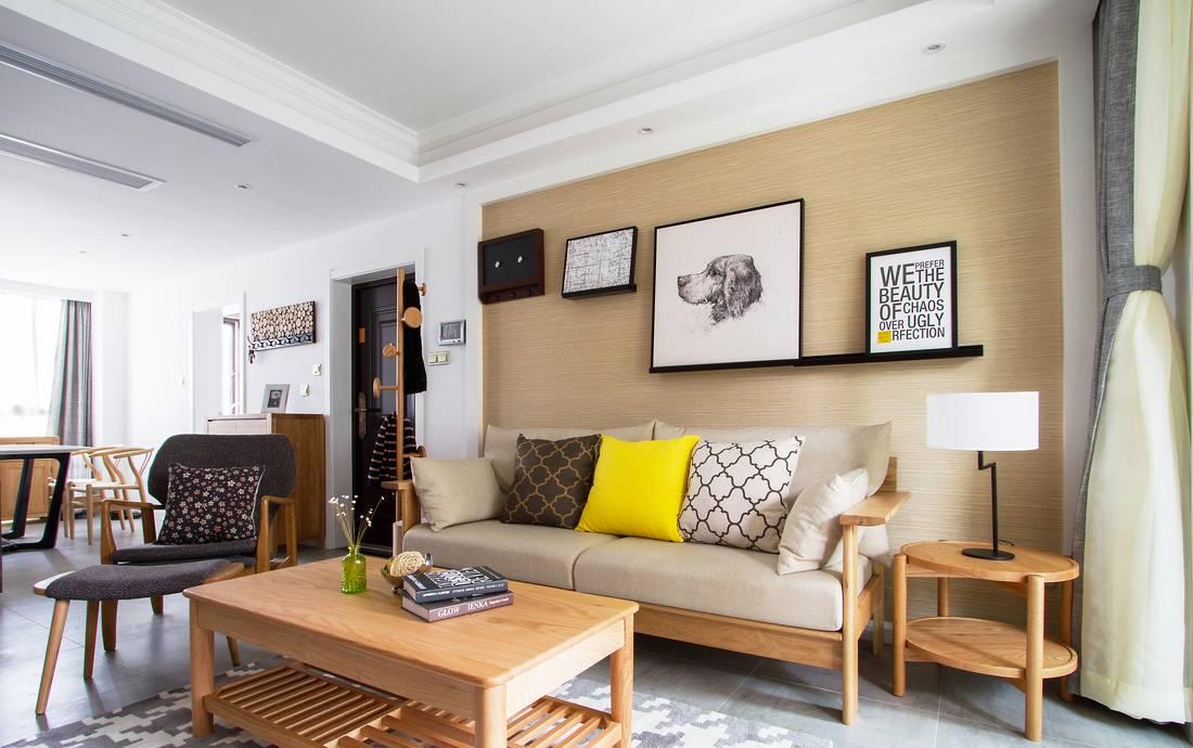 105平日式风格沙发背景墙装修效果图