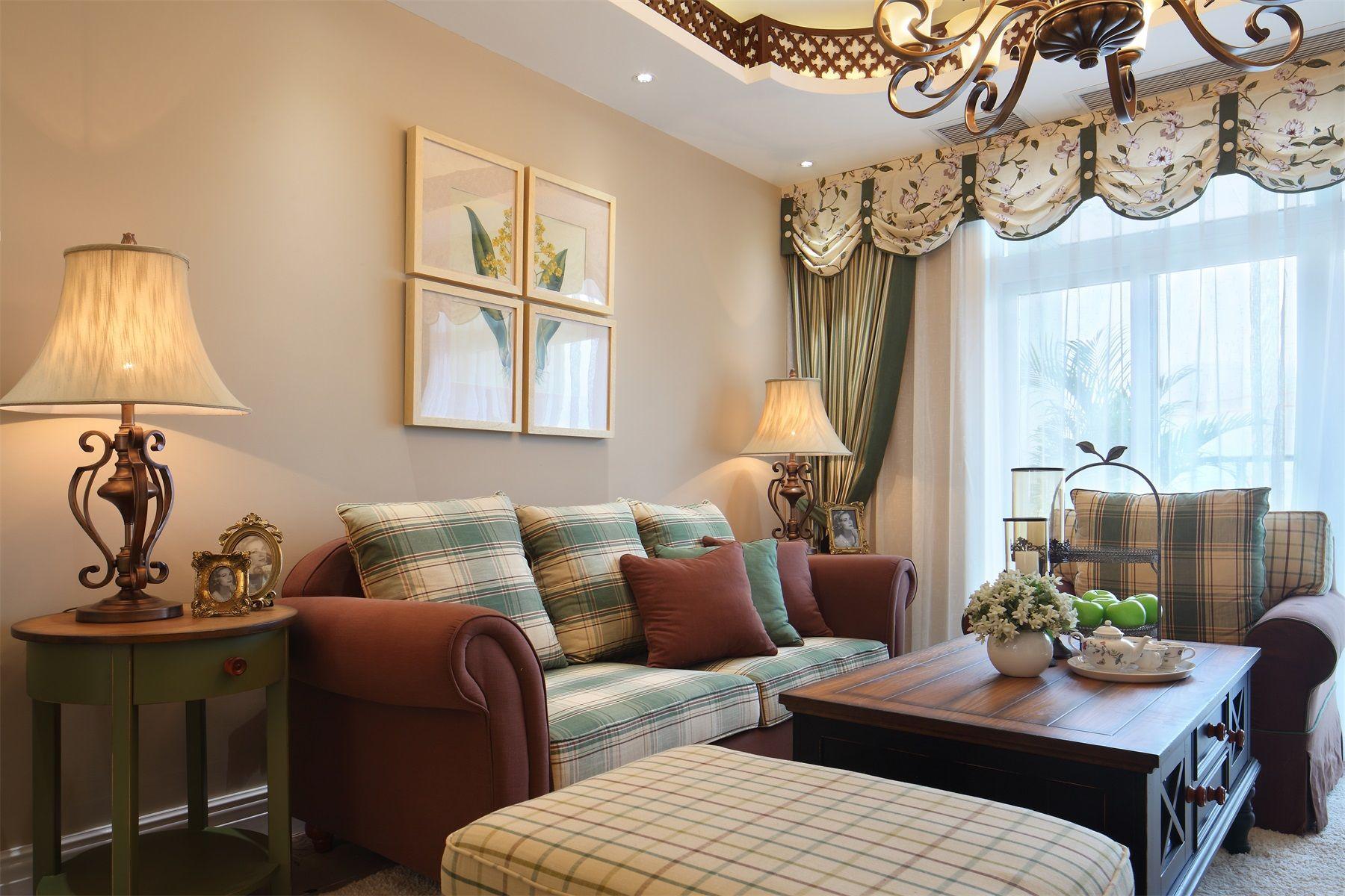 田园风格两居室客厅装修效果图