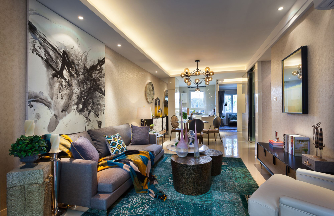 混搭风格样板房客厅装修效果图