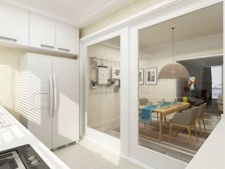 简约风格厨房玻璃门装修设计效果图