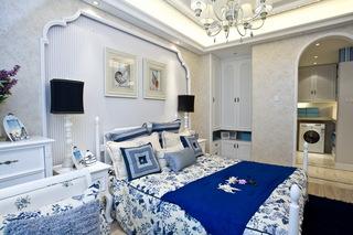 三居室地中海风格卧室背景墙装修效果图