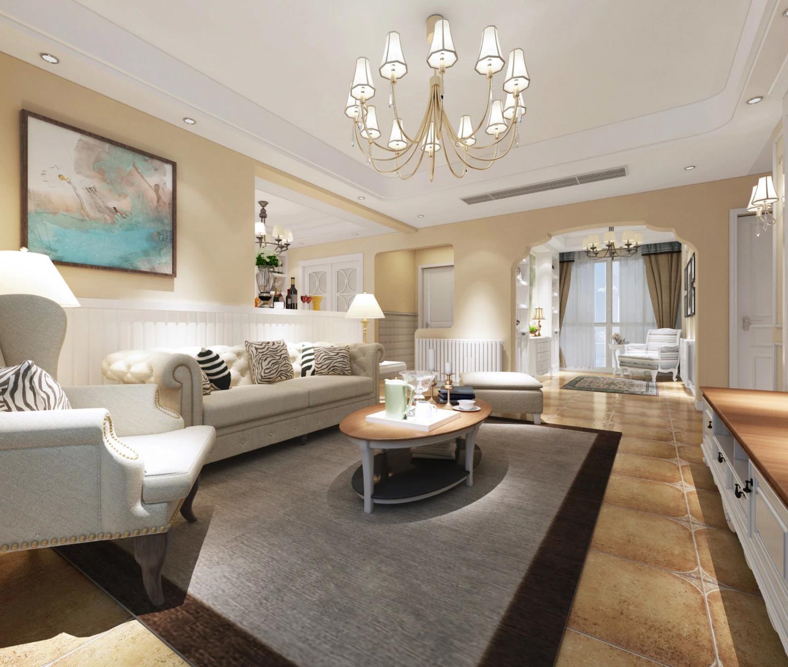 100㎡美式风格客厅装修效果图