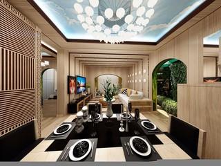 82平混搭风格客餐厅装修效果图