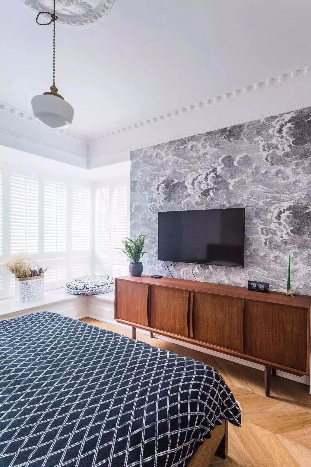 140平北欧风格装修原木电视柜设计图