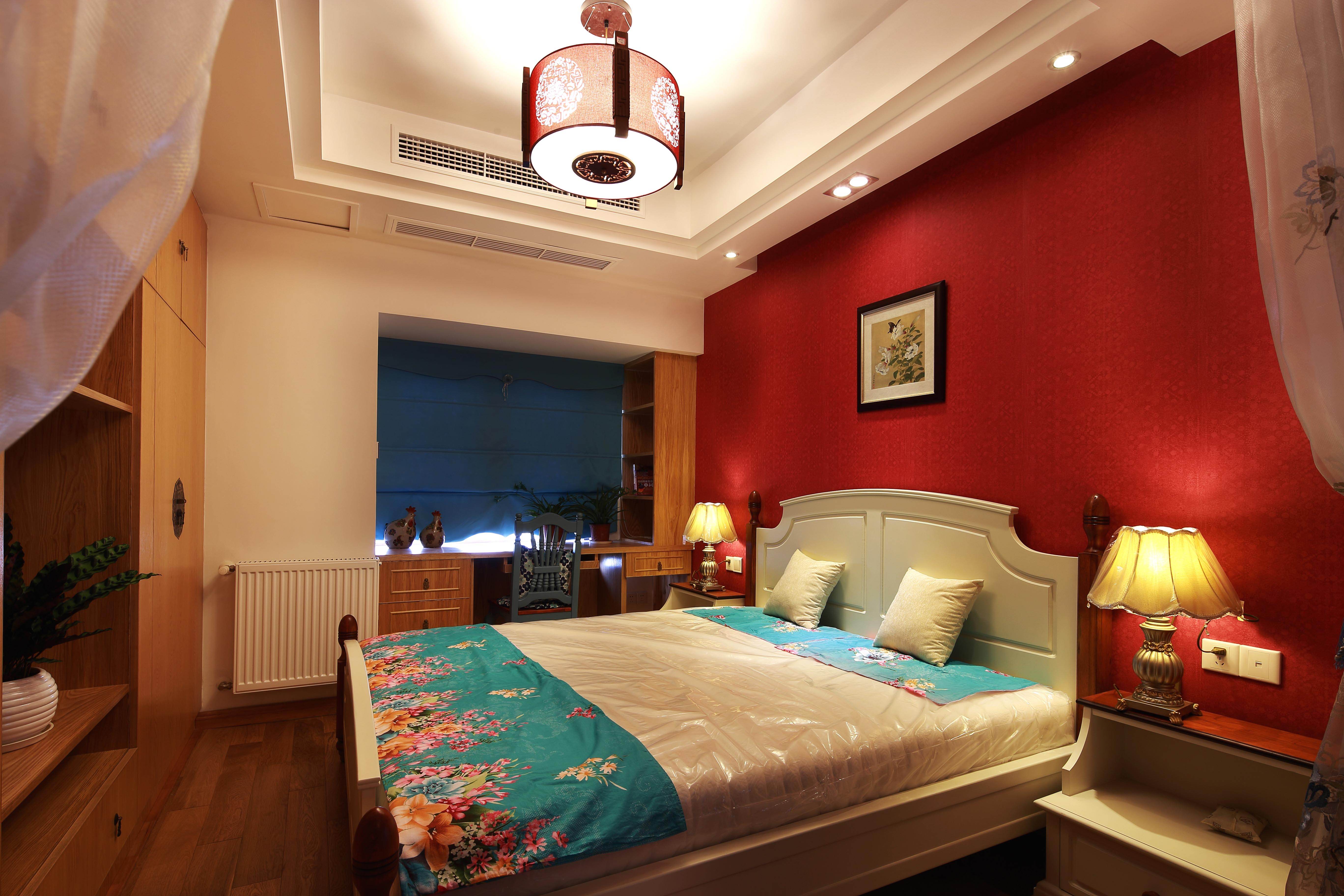 中式混搭三居卧室装修效果图