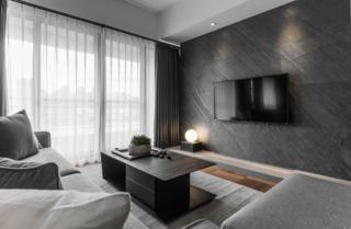 灰色调现代台式风电视背景墙装修效果图