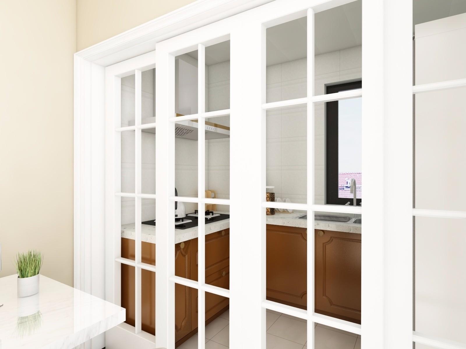 现代简约两居室厨房格子移门装修效果图