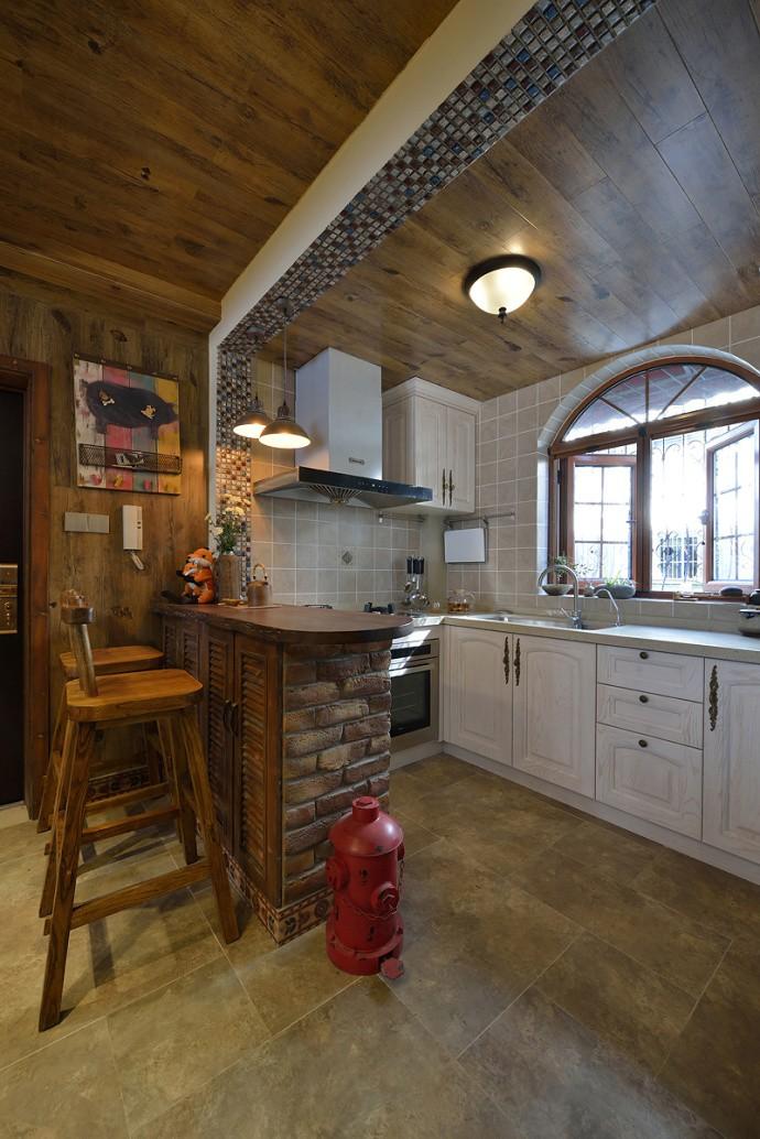 美式乡村风格二居室厨房装修效果图