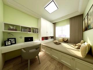 现代简约三居榻榻米卧室装修效果图