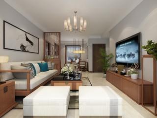 90平新中式风格客厅装修效果图