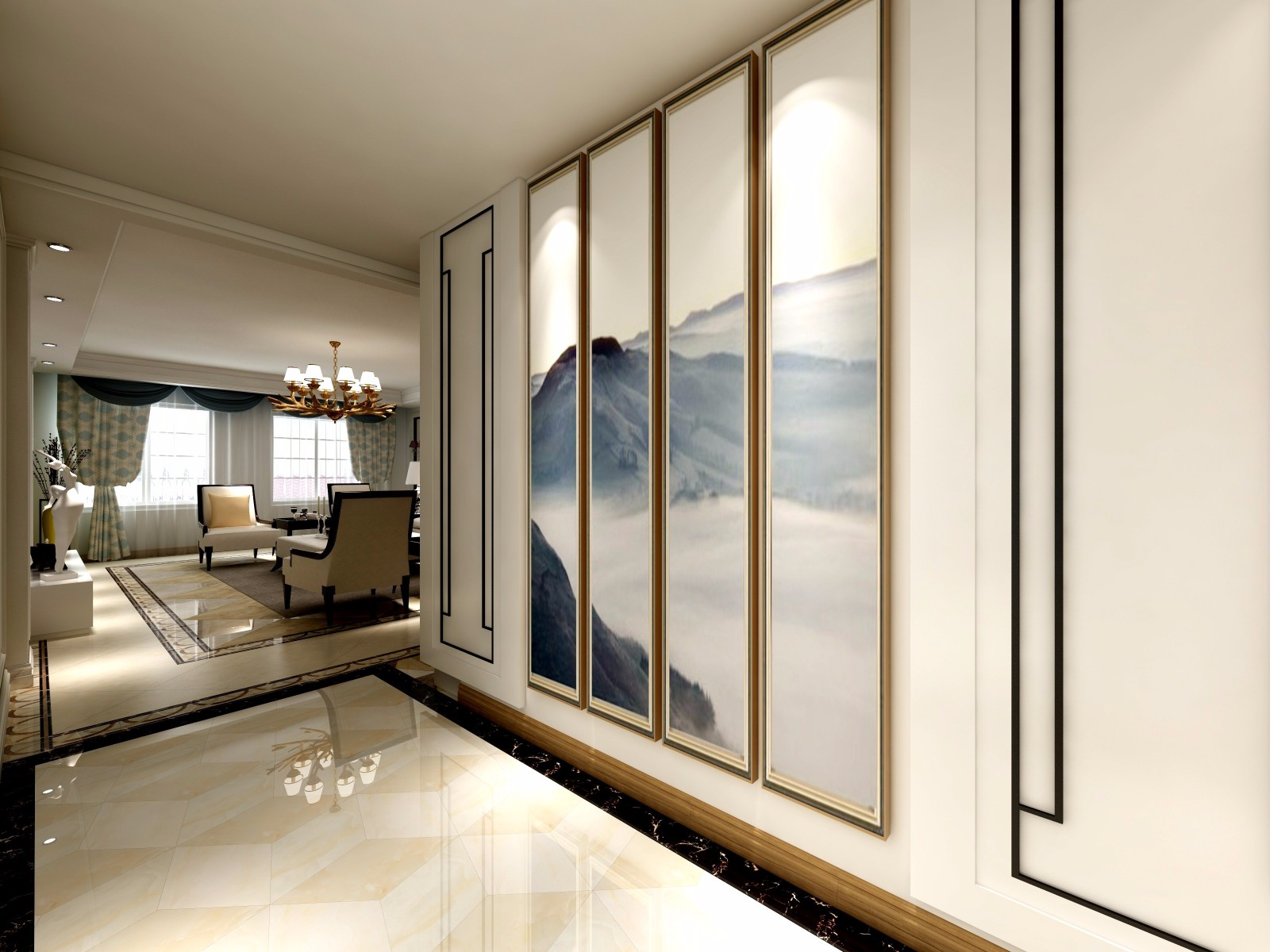 混搭风格三居室玄关走廊装修效果图
