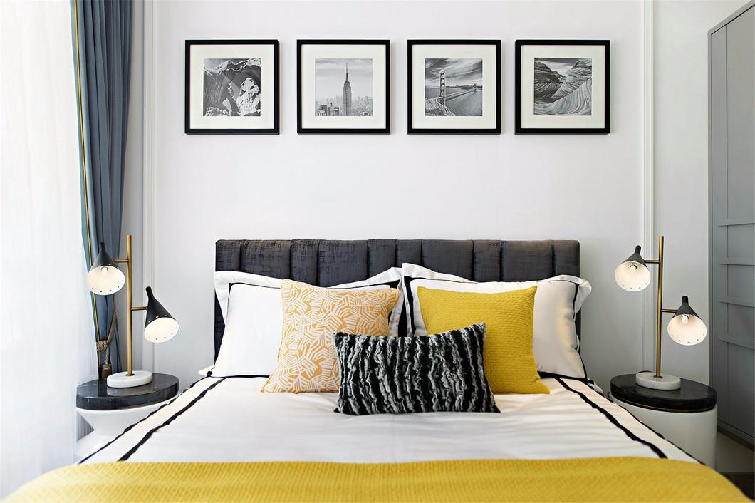 时尚摩登样板房卧室背景墙装修效果图