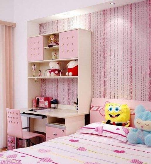 粉色可爱女孩房装修图片