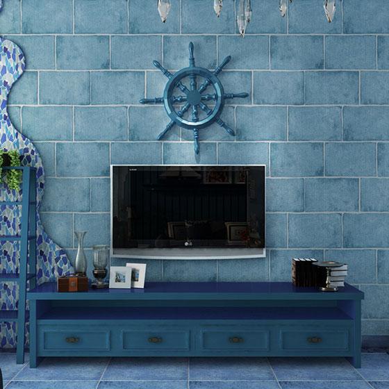 清凉砖砌地中海电视背景墙设计图