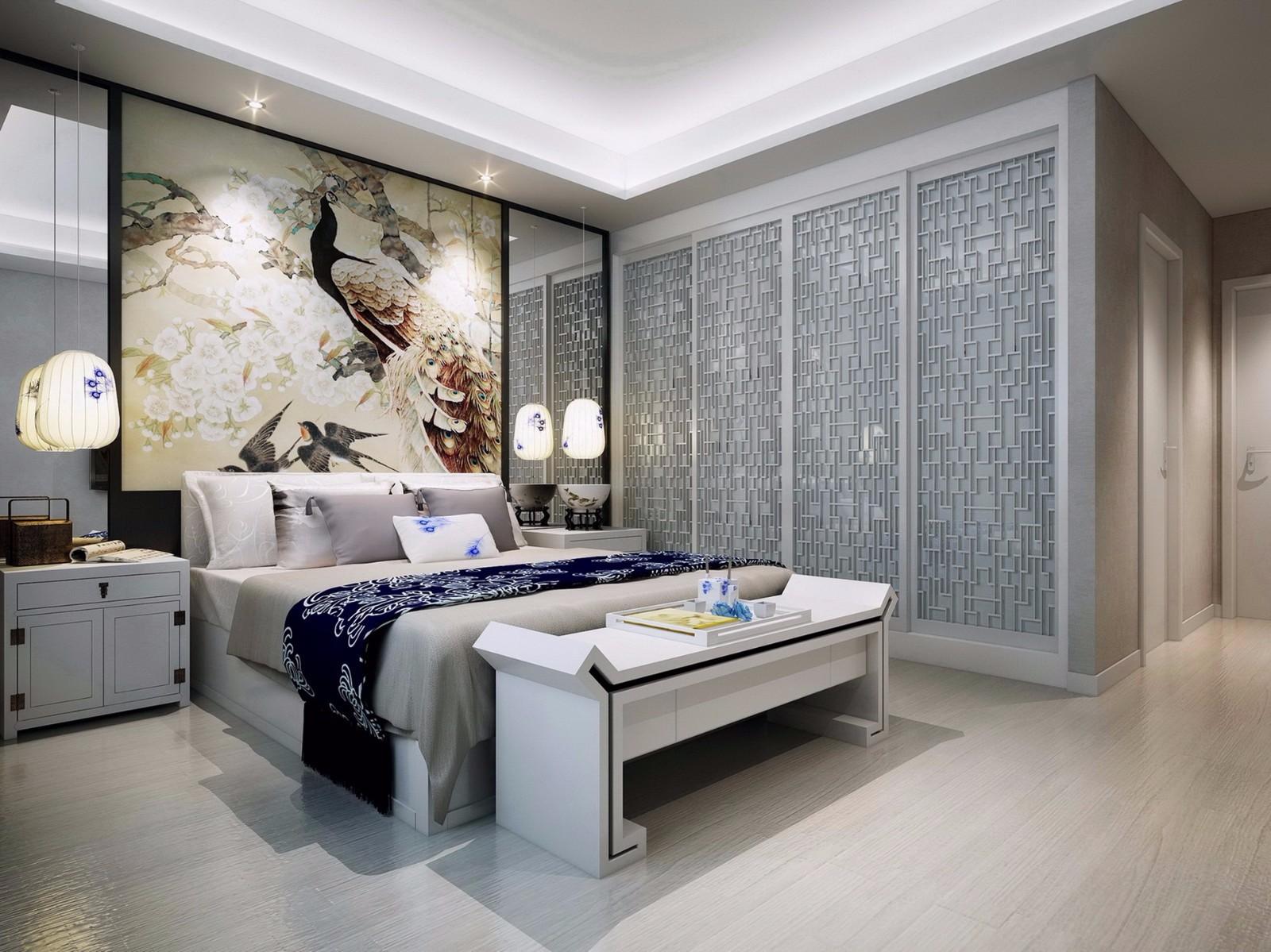 现代中式混搭卧室装修效果图