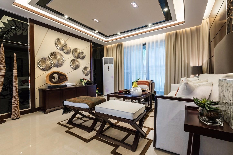 三居室新中式风格客厅装修效果图