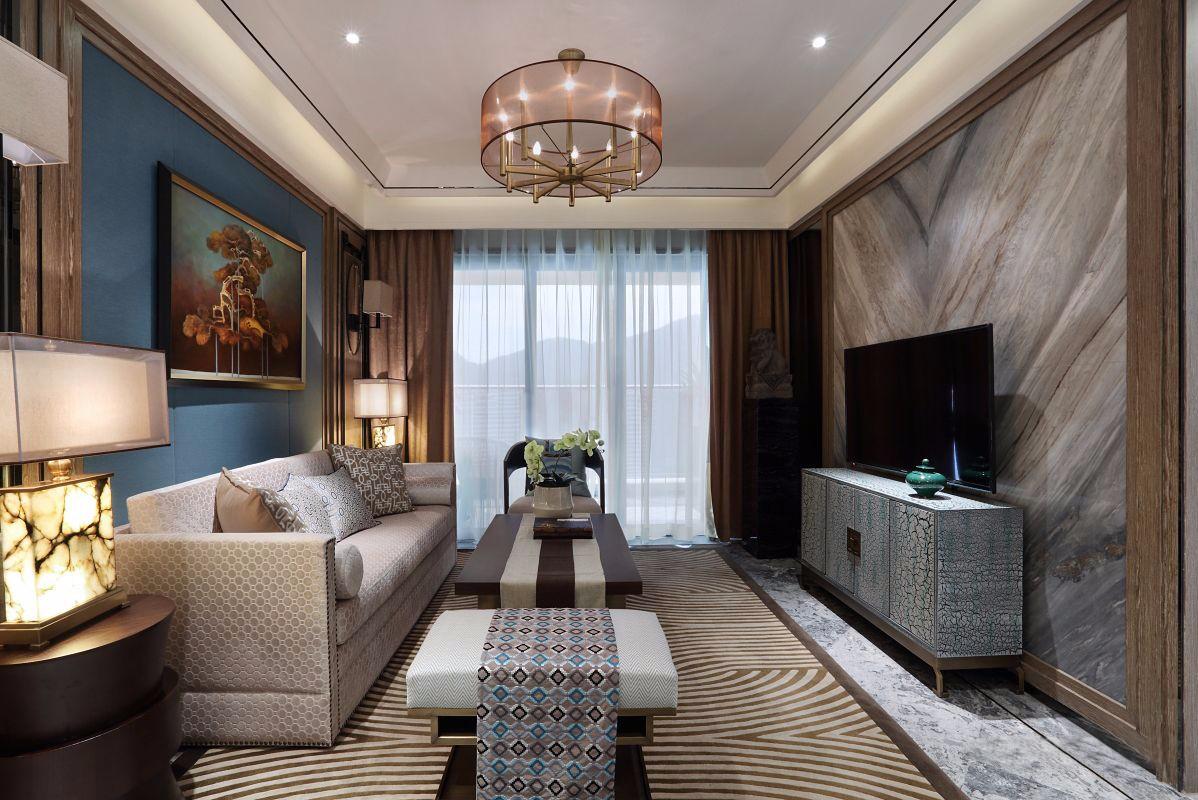 现代中式风格三居客厅装修效果图