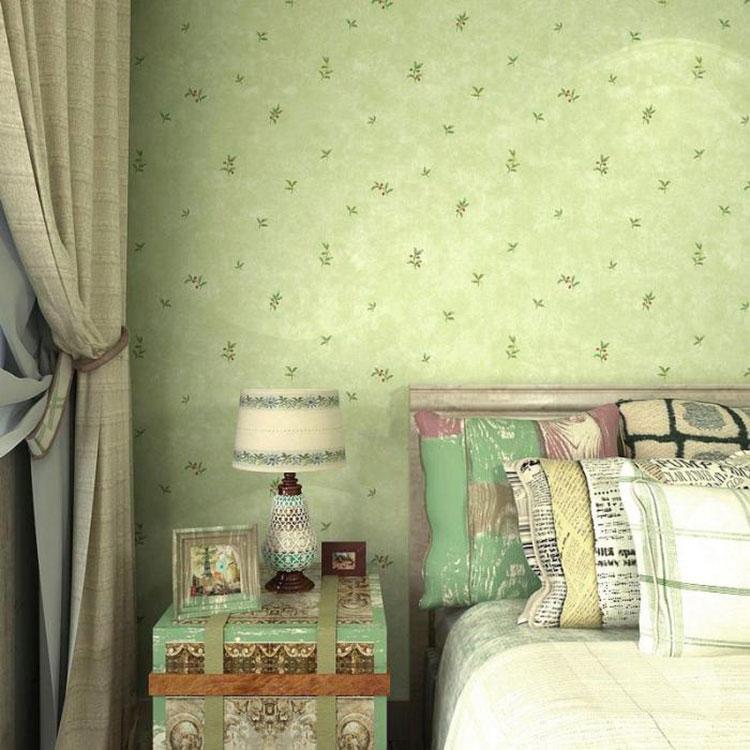 绿色清新卧室壁纸装修图