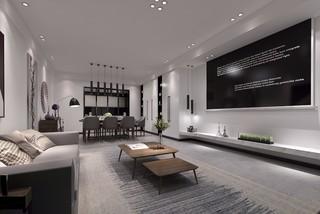现代极简风格客餐厅装修效果图