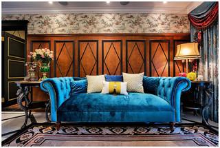 美式新古典风格装修蓝色沙发设计图