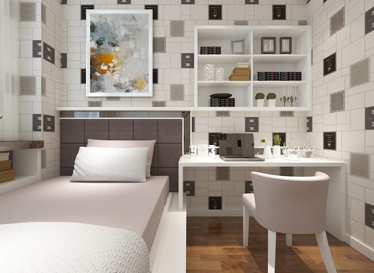 现代简约风卧室背景墙装修效果图