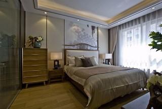 大户型新中式样板间卧室装修效果图